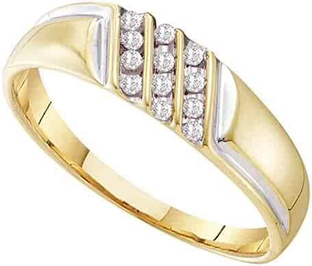 GemApex Mens Diamond Dad Ring Solid 10k Yellow Gold Father Band Black Polished Finish Fashion Style Fancy .01 ctw