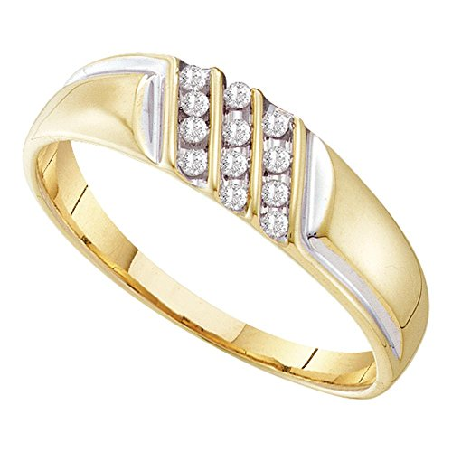 Diagonal Stripes Ring (Mens Wedding Diamond Band Solid 10k Yellow Gold Ring Three Row Diagonal Stripes Polished Fancy 1/8 ctw)