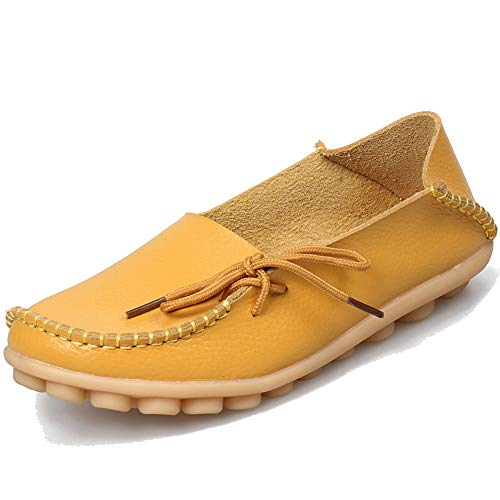 - Women's Loafers Leather Flat Shoes Oxfords Coach Loafers Comfort Driving Moccasins Casual Slip On Breathable Women Shoes Yellow 8