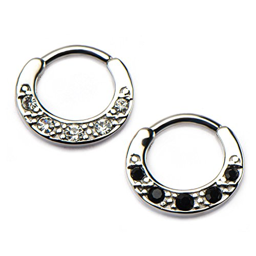 Surgical Steel Dotted WildKlass Septum Clickers with 5 CZ Gems (Black) (Hoop Dotted)