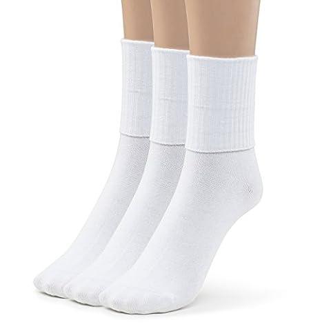 Silky Toes Turn Cuff Triple Roll Girl's School Crew Socks (Medium (8-9), White) - Childrens Toe Socks