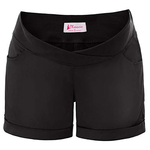 Women's Maternity Low-Rise Casual Elastic Waist Shorts with Pockets (Small, ()