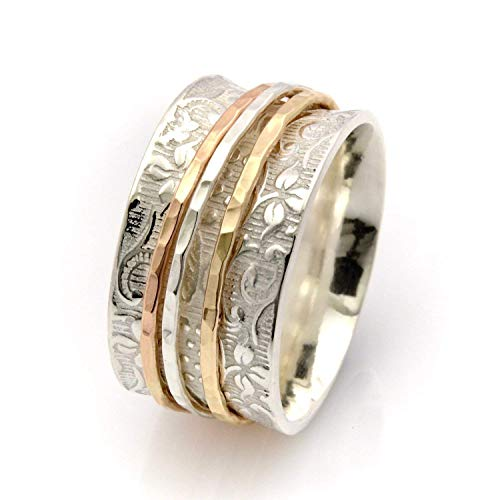 Spinner rings for anxiety Silver and gold band sizes 4 to10