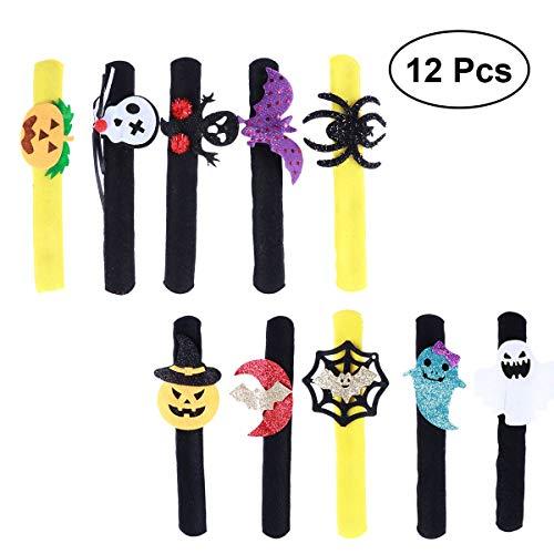 Toyvian Halloween Slap Bracelet Pumpkin Spider Bat Hand Rings Party Supplies 12pcs