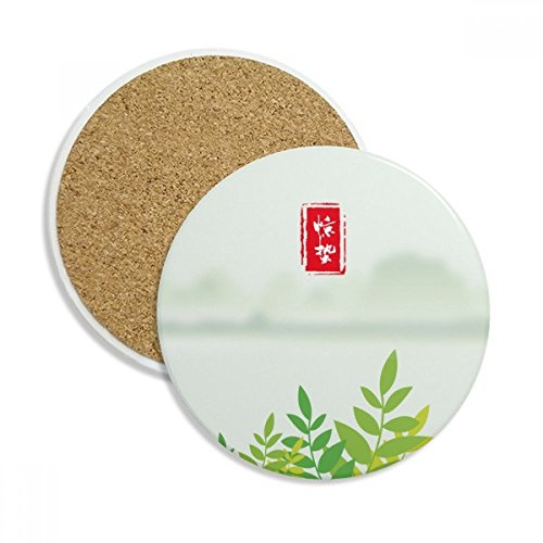 Excited Insects Twenty Four Solar Term Ceramic Coaster Cup Mug Holder Absorbent Stone for Drinks 2pcs Gift by DIYthinker