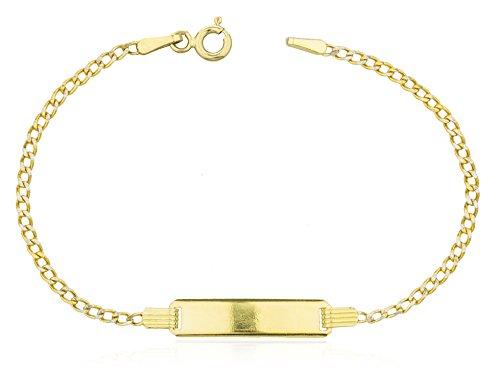 14K Gold 6 Inch Baby Id Pave Cuban Link Bracelet (GO-1810) by JOTW