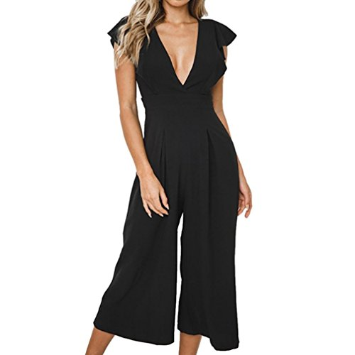 Anixnke Women Solid Ruffles Short Sleeve Deep V Neck Belted Jumpsuits Wide Leg Rompers (XL, Black) by Anxinke