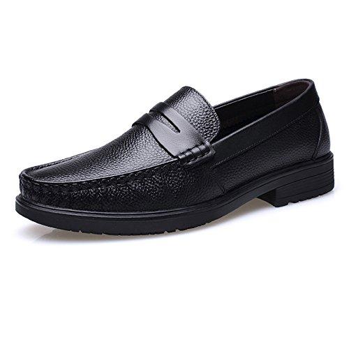 Dimensione Classico Color suola on foderata shoes pelle pelle Marrone Xiazhi 44 Slip uomo da foderata Vera EU Scarpe Nero morbida in scuro ZUwz5q