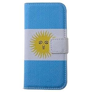 GX patrón de la bandera Argentina pu funda de piel de todo el cuerpo con la ranura para tarjeta para el iphone 5/5s
