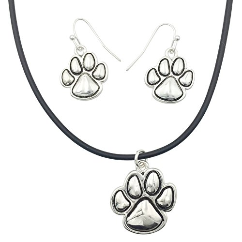 Paw Print School Spirit Mascot Silver Tone Necklace & Earring Set- Assorted Colors (Black Rubber Cord) ()