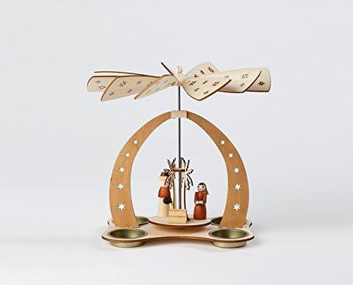 Tischpyramide F/ür 4 Teelichte Christi Geburt 21x21x19cm NEU Teelichtpyramide Weihnachtspyramide