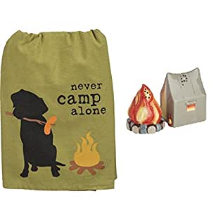 DHE 3 Piece Never Camp Alone Kitchen Bundle, Towel with Salt and Pepper Shakers