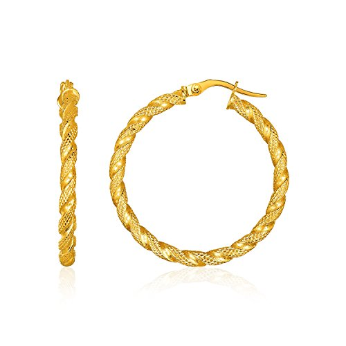 14k Gold Rope Hoop Earrings - 14K Yellow Gold Rope Textured Hoop Earrings