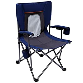 PORTAL Camping Chair Folding Portable Quad Mesh Back with Cup Holder Pocket and Hard Armrest, Supports 300 Lbs, Blue…