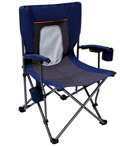 PORTAL Camping Chair Folding Portable Quad Mesh Back with Cup Holder Pocket and Hard Armrest, Supports 300 Lbs, Blue, Regular (Outdoor Quad)