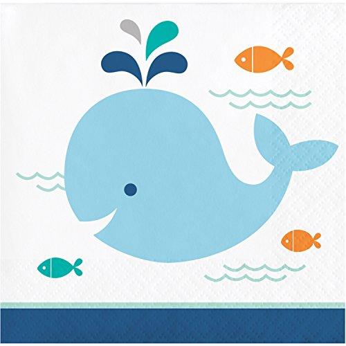 Blue Baby Whale Beverage Napkins, 48 - Baby Napkins Blue Beverage