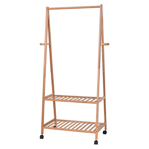 Tangkula Multifuctional Bamboo Garment Laundry Rack with 4 Coat Hook 2 Tire Shoe Clothes Storage Shelves