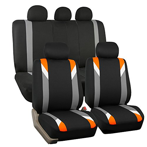 FH GROUP FH-FB033115 Premium Modernistic Seat Covers Orange / Black- Fit Most Car, Truck, Suv, or Van (Seat Covers Hhr compare prices)