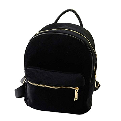 Paymenow Women Casual Gold Velvet Rucksack Backpack School Bag Satchel Shoulder Bags for Girls (Black) (Zero Gold Leaf)