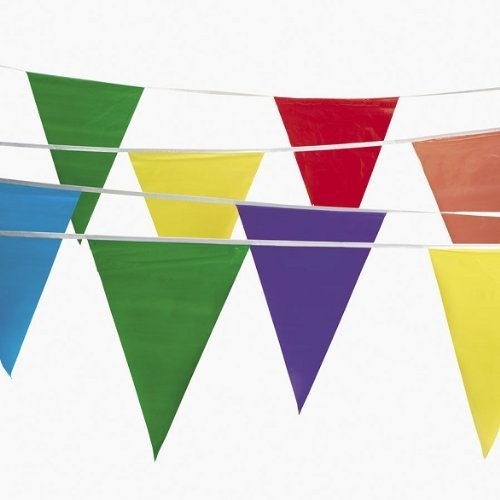 500 feet Multi Colored Pennant Flags Banners (Pack of 5, 100 feet pennants)]()
