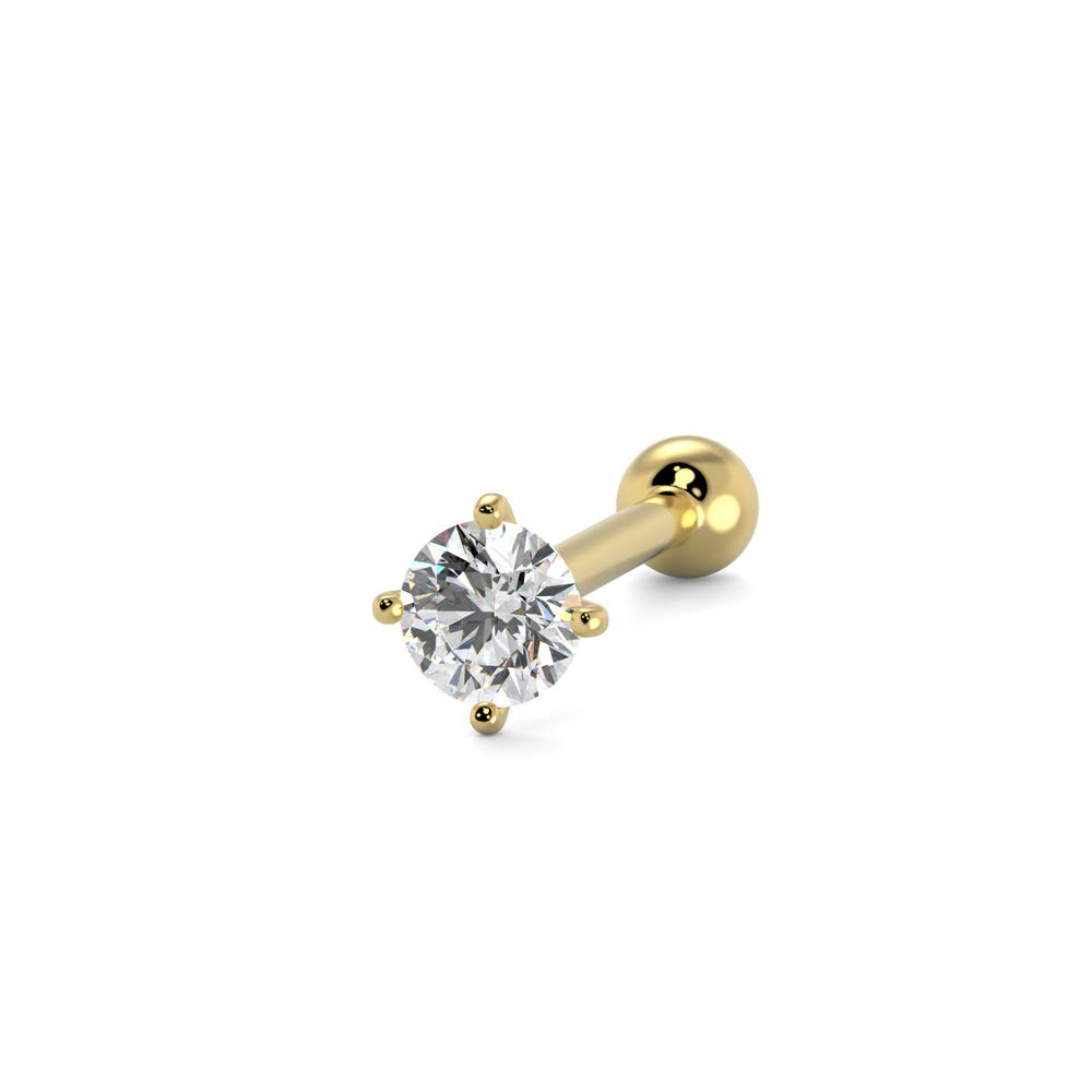 S R SONS Women's Nose Bone Ring Stud 2.5mm Diamond 14k Yellow Gold 0.05 ct G-H SI 20 Gauge by S R SONS