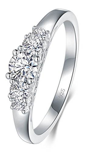 BORUO 925 Sterling Silver Ring, Cubic Zirconia CZ Diamond Eternity Engagement Wedding Band Ring Size 9