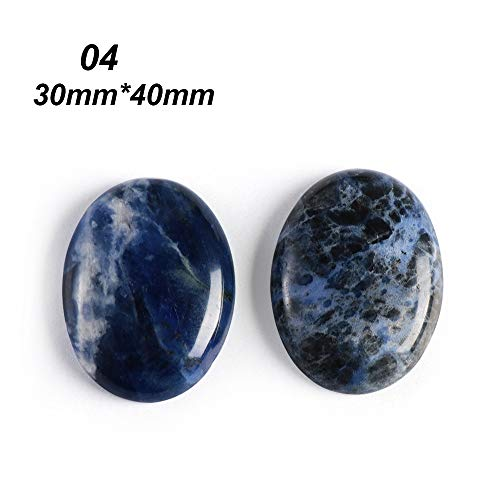 (FOVIUPET Blue Natural Stone Sodalite Cabochon Beads Oval DIY Handicrafts Making Jewelry Women Men DIY Pendant Ornaments Accessory(4))