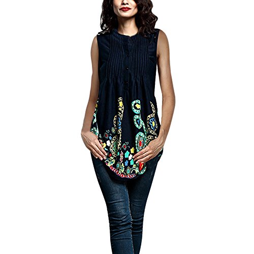 Circular Silk Tie - SERYU Women Sleeveless Circular Neck Printed Tops Loose Large Size T-Shirt Blouse