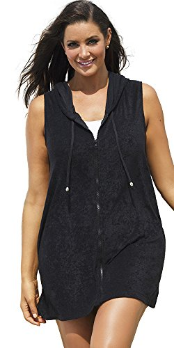 swimsuitsforall Women's Plus Size Terry Zip Hoodie 22 / 24 Black