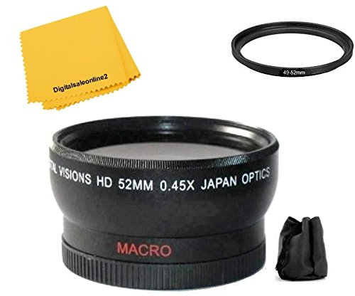 52mm Digital Vision Wide Angle Lens for Panasonic HC-WXF991K HC-VX981K HC-WX970 HC-X920 HC-X900 HC-VX870 HC-W850 HC-V770 HC-V750 by Digitalsaleonline2