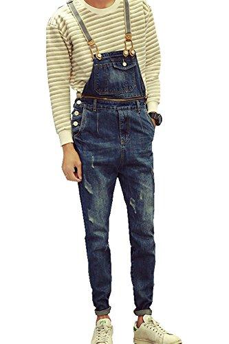 Denim Mens Slim Suspenders Overalls