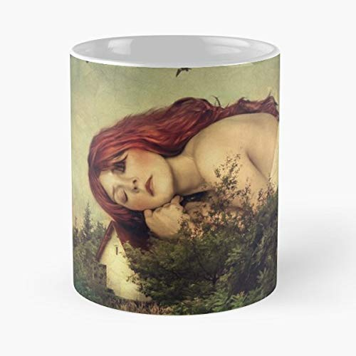 (Woman Girl Cottage House - Coffee Mugs Unique Ceramic Novelty Cup)