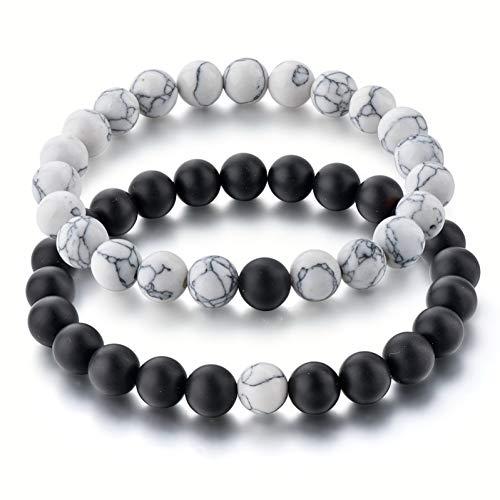 YJFNNSL Long Stainless Steel Distance Bracelets & Bangles Charms for Women & Men Jewelry Making Tiger Eye Bracelets