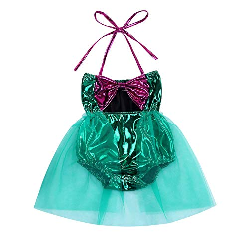 (Kid Infant Baby Girls Mermaid Romper Outfit Bodysuit Jumpsuit Swimsuits Tutu Party Dress Skirt Summer Clothes Set (Green, 6-12)