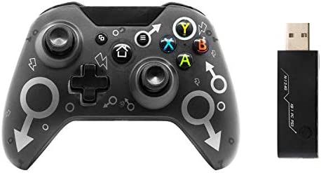 Wireless Controller for Xbox One/Xbox One S/Xbox One X/Xbox Series X/PS3/PC, 2.4G Wireless Game Controller with Dual Vibration Black