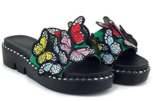 Easemax Spécial Ouvert Vert Bout Plate Femme Mules Chaussure Multicolore a5ZwzqaWrB