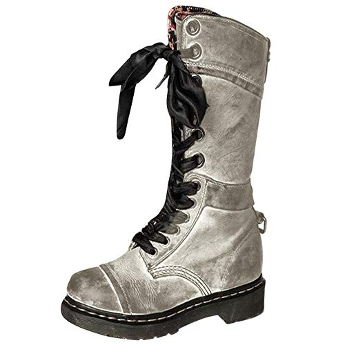 ed267f8eca8fa Hunzed Women's Retro Shoes Studded Vintage Lace-Up Girl's Boots