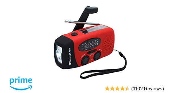[Upgraded Version] RunningSnail Emergency Hand Crank Self Powered AM/FM  NOAA Solar Weather Radio with LED Flashlight, 1000mAh Power Bank for