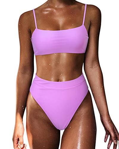 MOSHENGQI Women Spaghetti Straps Bikini Sets High Waisted Cheeky 2 Piece Swimsuits (Small, Purple)