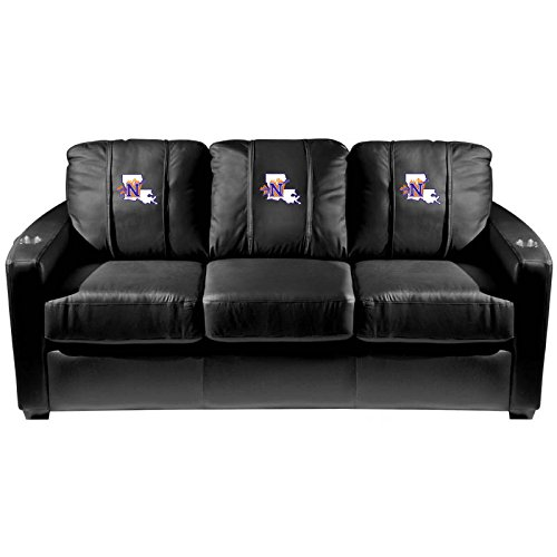 XZipit College Silver Sofa with Northwestern State Demons Logo Panel, Black