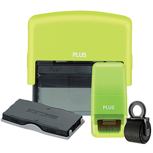 Guard Your ID Identity Theft 4 PIECE PREVENTION KIT mask out private information with LARGE STAMP AND REFILL along with MINI ROLLER and REFILL (Green) (Guard Id Stamp)