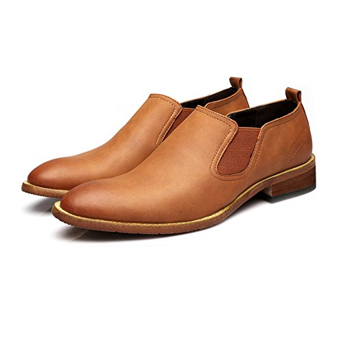 Leather Leather on Shoes Shoes Oxfords Leather Smooth Slip Shopping Go Genuine Shoes Easy Outsole Men's Plate Brown Dual Casual Low Flexible Top wzavBqXvxF