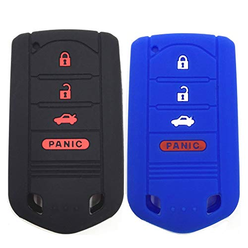 Ezzy Auto Black and Blue Silicone Rubber Key Fob Case Key Covers Key Jacket Skin Protectors fit for Acura ILX RDX TL ZDX