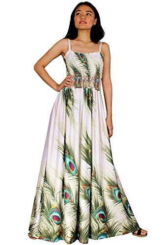 Maxi Dress Plus Size White Wedding Guest Party Long Sleeveless Special Occasion (1X(Length 58 inches), White/Green Peacock Print)