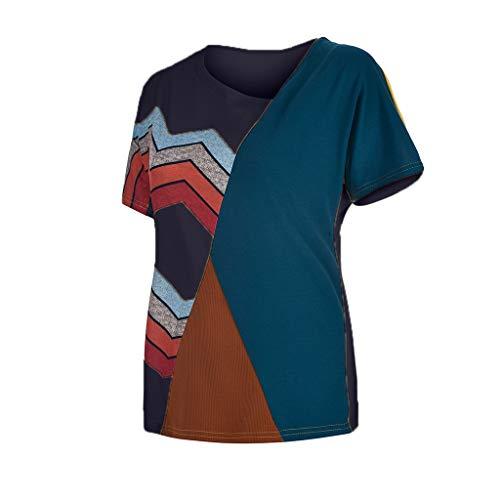 Women's Casual T-Shirts Summer Short Sleeve Color Block Stripe Print Tops Plus Size Cotton Patchwork Blouse Top Shirts (Navy, XXXXXL) by Cealu (Image #4)