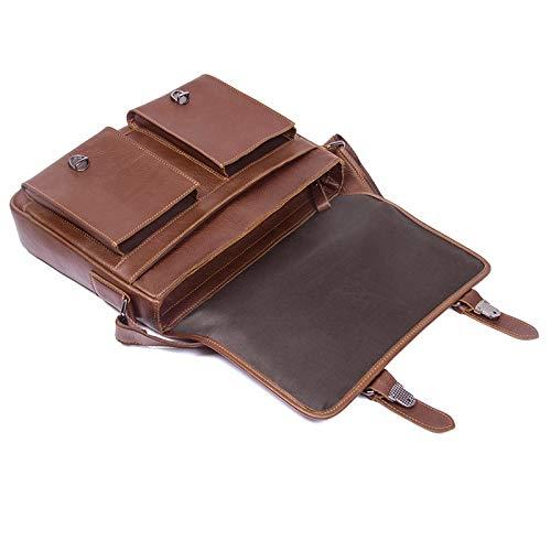 Color : Coffee Color 13 Inch Large Capacity Storage Universal Organizer BJLWTQ Mens Briefcase//Crossbody Bag Casual Travel Leather Handbag