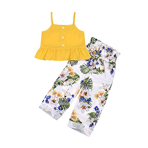 Toddler Baby Girl Floral Off The Shoulder Strap Top + Pleated Wide Leg Pants Summer Clothes Outfits Set (Yellow Blouse top &Floral Pants, 2-3 -
