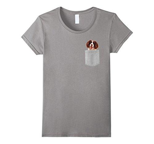Womens Dog in Your Pocket Spaniels English Springer t shirt shirt Medium Slate
