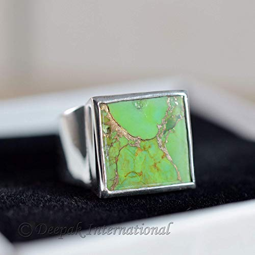 Green Copper Turquoise Ring, Man's Ring, 925 Sterling Silver Jewelry, Square Shape Gemstone Ring, Heavy Ring, Wide Band Ring, Metaphysical Ring, Statement Ring, Engagement Jewelry