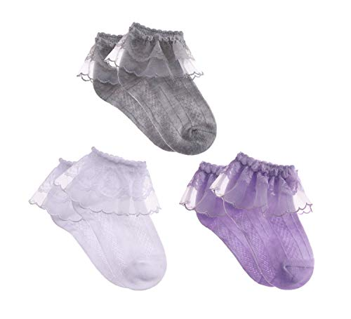 MSMETRO Newborn Infant Toddlers Kids Little Girls Eyelet Lace Ruffle Frilly Mesh Socks Ankle Cotton Socks for 0-8T (L / 3-5 Years, 3 Pack B White/Gray/Purple)